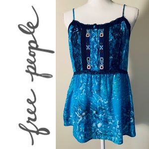 Free People Blue Floral Embroidered Tunic Top
